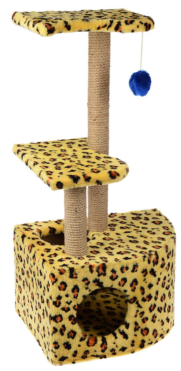 Домик-когтеточка ЗооМарк Мурзик, угловой, с полками, цвет: желтый, коричневый, бежевый, 51 х 37 х 99 см133_леопардовыйДомик-когтеточка ЗооМарк Мурзик выполнен из высококачественного дерева и обтянут искусственным мехом. Изделие предназначено для кошек. Ваш домашний питомец будет с удовольствием точить когти о специальные столбики, изготовленные из джута. А отдохнуть он сможет либо на полках, либо в расположенном внизу домике. Общий размер: 51 х 37 х 99 см. Размер домика: 51 х 37 х 31 см. Размер полок: 36 х 26 см.