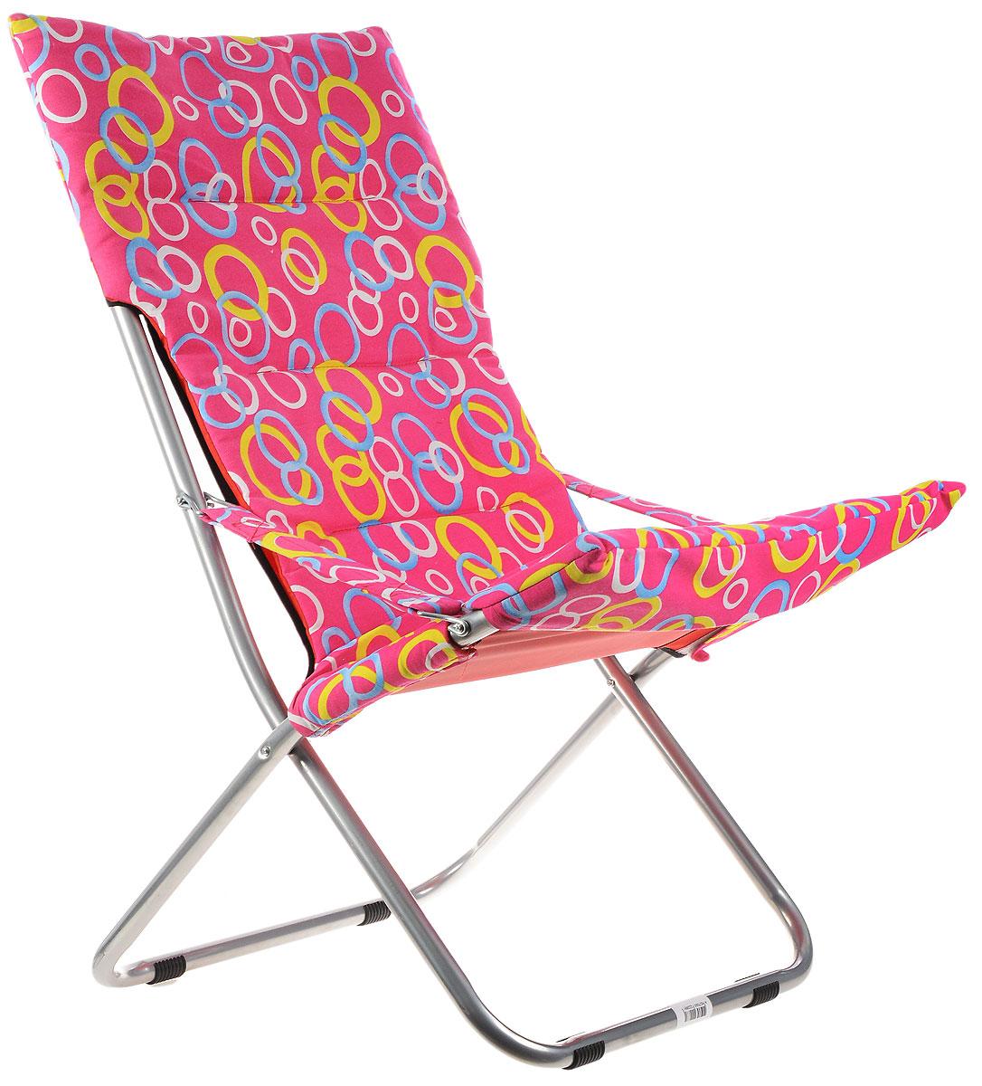 Кресло складное Wildman, цвет: розовый, желтый, синий, 73 х 60 х 100 см81-455_розовый,кружкиНа складном кресле Wildman можно удобно расположиться в тени деревьев, отдохнуть в приятной прохладе летнего вечера. В использовании такое кресло достойно самых лучших похвал. Кресло выполнено из текстиля, каркас металлический. Мягкий съемный чехол с наполнителем из синтепона крепится на кресло при помощи застежек-липучек. В сложенном виде кресло удобно для хранения и переноски.
