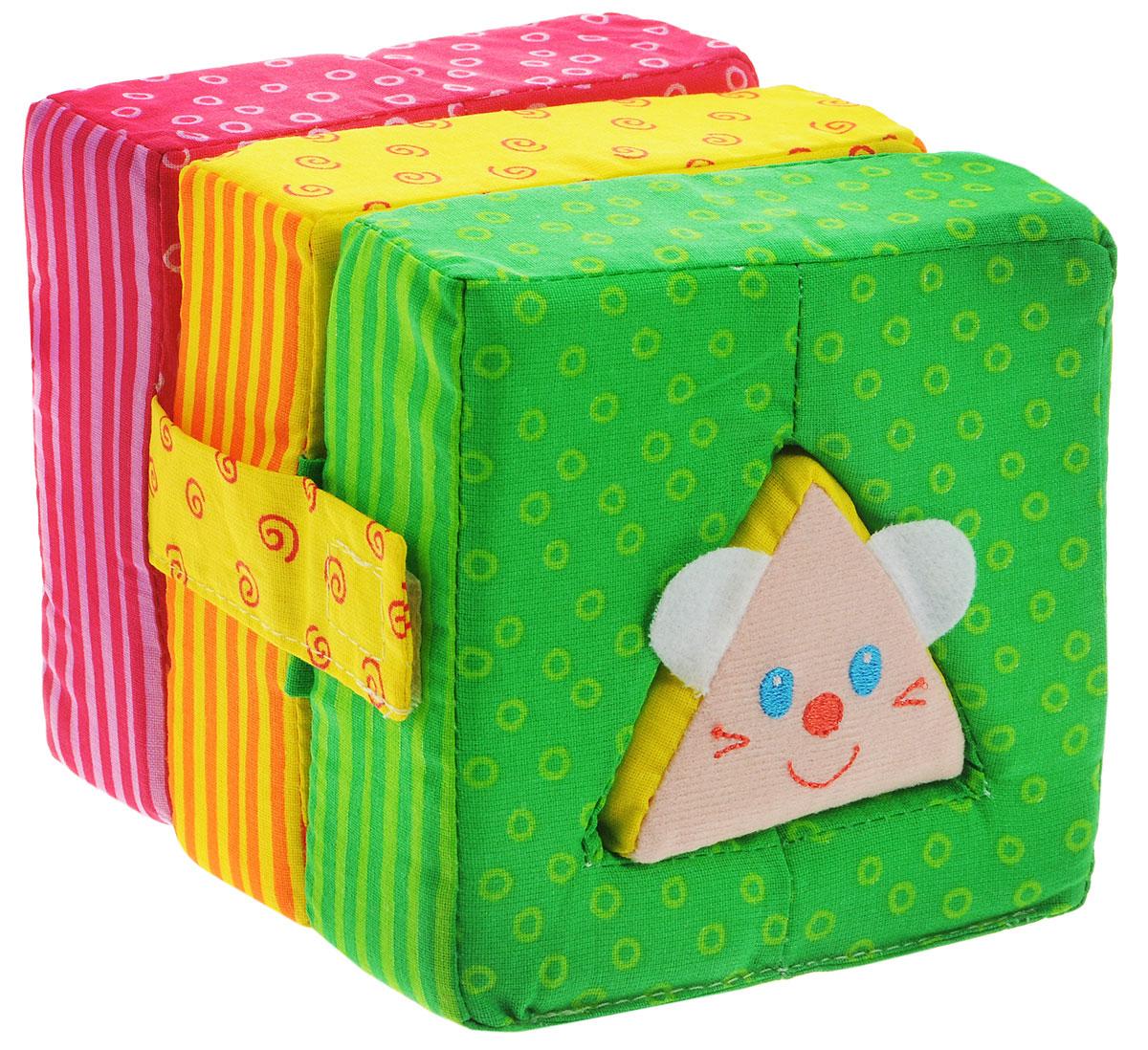 Мякиши Мягкая развивающая игрушка Кошки-Мышки цвет красный желтый зеленый162_красный,желтый,зеленыйЯркая мягкая игрушка-вкладыш Кошки-Мышки надолго займет внимание малыша и не позволит ему скучать. Игрушка выполнена в виде кубика, состоящего из трех разворачивающихся блоков, каждый с отверстием, соответствующим мягкому вкладышу (дверка, котик, мышка). Блоки фиксируются с помощью липучек. В изготовлении игрушки использовались высококачественные разнофактурные ткани с яркими четкими рисунками и мягкий наполнитель, что делает ее абсолютно безопасной в игре. Игрушка-вкладыш Мякиши способствует отличному развитию тактильных ощущений, мелкой моторики, координации движений, мышления, яркие цвета стимулируют цветовое восприятие. Размер игрушки (в собранном виде): 12 см x 12 см х 12 см. Размер игрушки (в развернутом виде): 38 см x 12 см х 4 см.