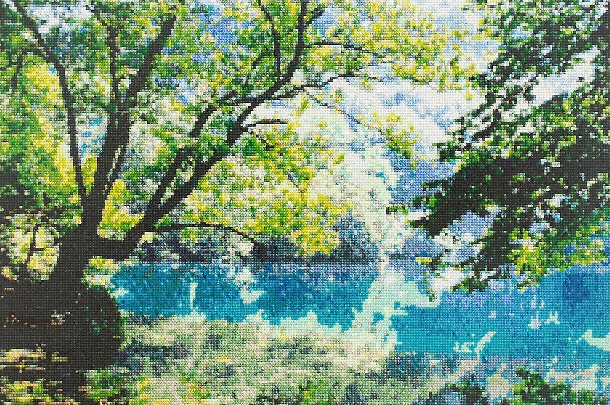 Набор для вышивания крестом Kustomkrafts Голубое озеро, 42,6 х 27,9 см98997Красивый и стильный рисунок-вышивка, выполненный на канве, выглядит оригинально и всегда модно. Работа, сделанная своими руками, создаст особый уют и атмосферу в доме и долгие годы будет радовать вас и ваших близких. А подарок, выполненный собственноручно, станет самым ценным для друзей и знакомых. Набор содержит все необходимые материалы для вышивки на канве в технике счетный крест. В набор входит: - канва Aida 14 (бежевого цвета) без рисунка, - мулине (хлопок) - 34 цвета, - черно-белая символьная схема, - инструкция по вышиванию русском языке, - игла. Размер канвы: 59 х 44 см. Размер готовой работы: 42,6 х 27,9 см.