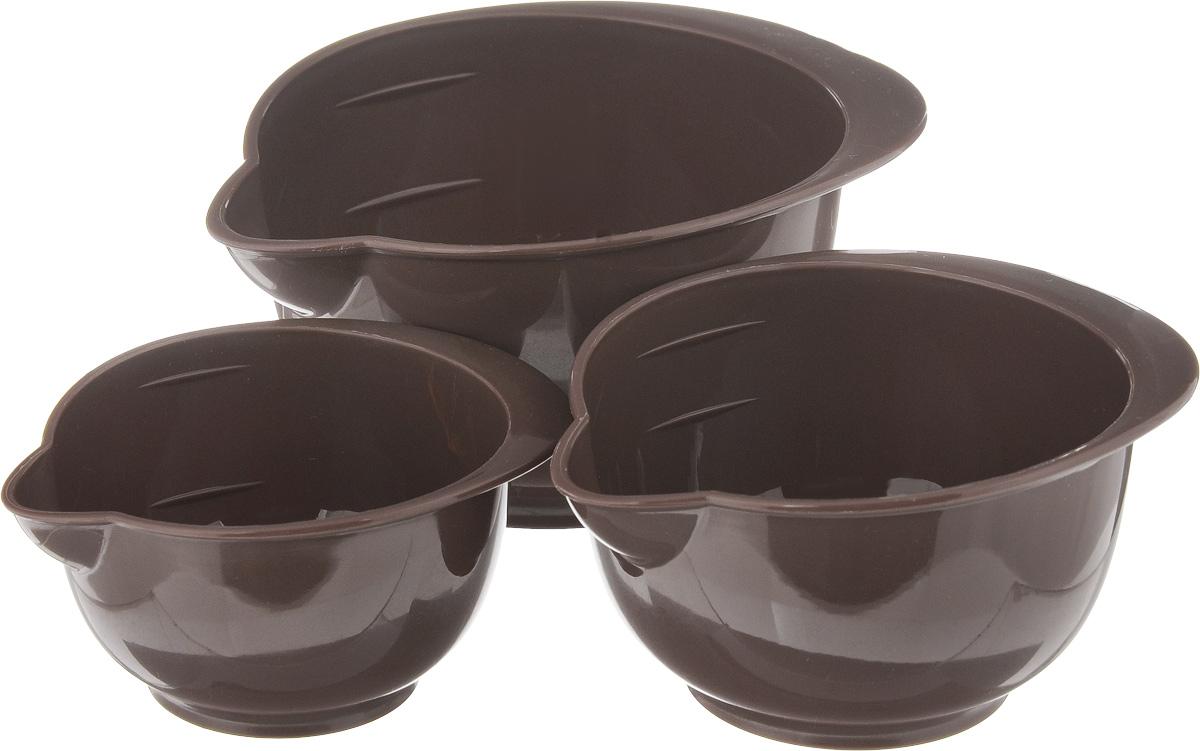 Набор мерных емкостей Tescoma Delicia, цвет: коричневый, 3 шт630370_коричневыйНабор Tescoma Delicia состоит из 3 мерных емкостей, выполненных из прочного пищевого пластика. Изделия оснащены носиками и удобными ручками. Мерные емкости имеют деления и подходят для обработки и отмеривания ингредиентов при приготовлении блюд. Можно использовать в холодильнике и микроволновой печи. Можно мыть в посудомоечной машине. Объем большой миски: 400 мл. Объем средней миски: 250 мл. Объем маленькой миски: 150 мл. Внутренний диаметр большой миски (по верхнему краю): 11 см. Высота большой миски: 7 см. Внутренний диаметр средней миски (по верхнему краю): 9,5 см. Высота средней миски: 6 см. Внутренний диаметр маленькой миски (по верхнему краю): 7,5 см. Высота маленькой миски: 5 см.