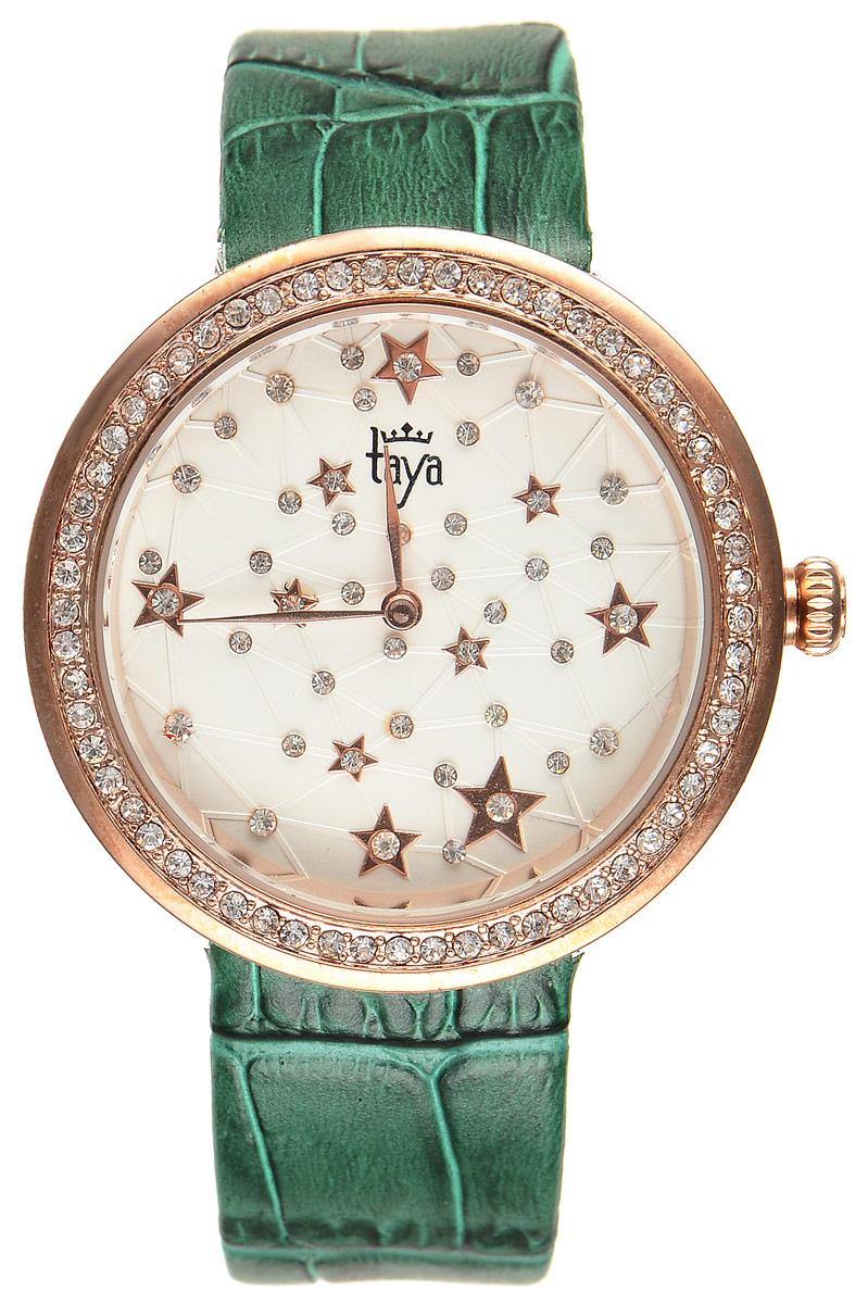 Часы наручные женские Taya, цвет: золотистый, зеленый. T-W-0042T-W-0042-WATCH-GL.GREENЭлегантные женские часы Taya выполнены из минерального стекла, натуральной кожи и нержавеющей стали. Циферблат и корпус часов украшены стразами и символикой бренда. Корпус часов оснащен кварцевым механизмом со сменным элементом питания, а также дополнен ремешком из натуральной кожи, который застегивается на пряжку. Ремешок декорирован тиснением под кожу рептилии. Часы поставляются в фирменной упаковке. Часы Taya подчеркнут изящность женской руки и отменное чувство стиля у их обладательницы.