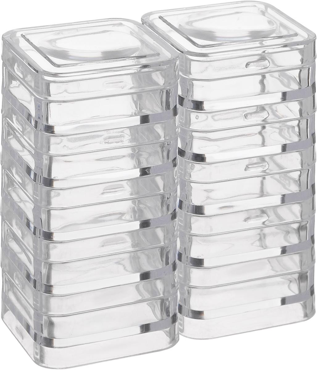 Контейнер для хранения мелочей Hemline, 10 штM3009Контейнеры для хранения мелкой фурнитуры и швейных принадлежностей изготовлены из высококачественного пластика. Изделие состоит из 10 отдельных контейнеров и 2 крышечек с увеличивающим эффектом. Каждый контейнер легко соединяется с другими. Изделие крепкое, легкое и удобное в применении. Размер контейнера: 27 х 10 мм.