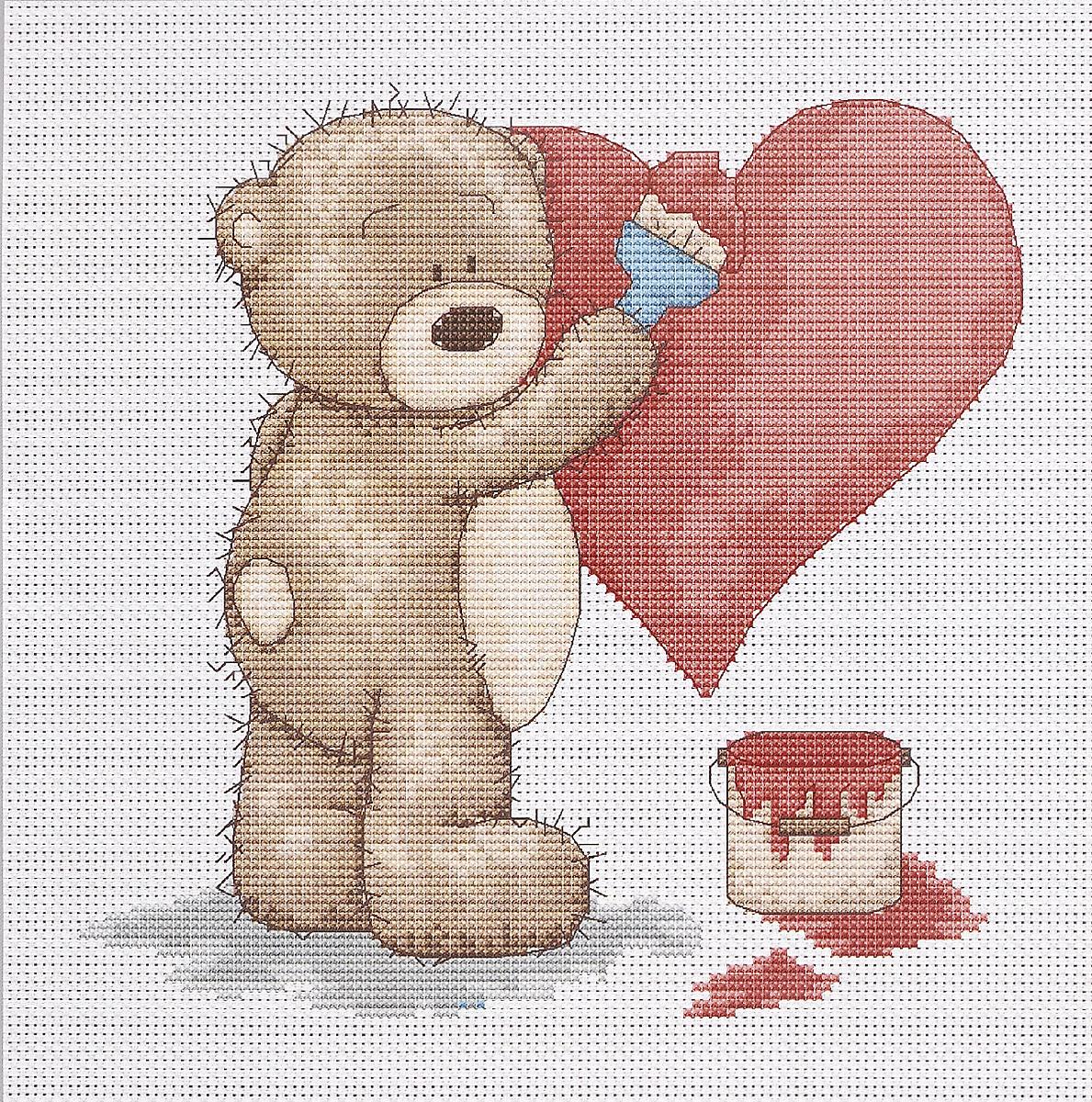 Набор для вышивания крестом Luca-S Медвежонок Бруно с сердечком, 17,5 х 17 смB1007Набор для вышивания крестом Luca-S Медвежонок Бруно с сердечком поможет создать красивую вышитую картину. Рисунок-вышивка, выполненный на канве, выглядит стильно и модно. Вышивание отвлечет вас от повседневных забот и превратится в увлекательное занятие! Работа, сделанная своими руками, не только украсит интерьер дома, придав ему уют и оригинальность, но и будет отличным подарком для друзей и близких! Набор содержит все необходимые материалы для вышивки на канве в технике счетный крест. В набор входит: - канва Aida Zweigart №16 (белого цвета), - мулине Anchor - 100% мерсеризованный хлопок (17 цветов), - черно-белая символьная схема, - инструкция на русском языке, - игла. Размер готовой работы: 17,5 х 17 см. Размер канвы: 30 х 28 см.