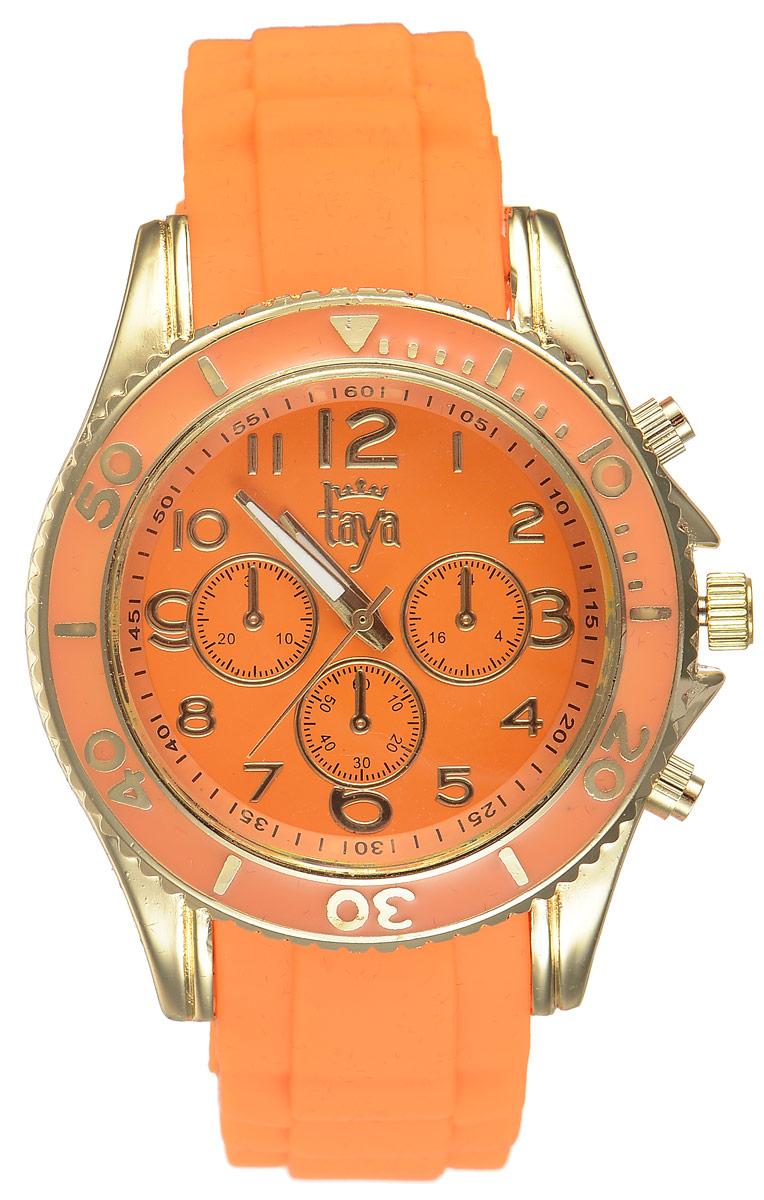 Часы наручные женские Taya, цвет: золотистый, оранжевый. T-W-0238T-W-0238-WATCH-GL.ORANGEСтильные женские часы Taya выполнены из минерального стекла, силикона и нержавеющей стали. Циферблат оформлен символикой бренда и декоративными отметками. Корпус часов оснащен кварцевым механизмом со сменным элементом питания, а также силиконовым ремешком с практичной пряжкой. На стрелки нанесен светящийся состав. Часы поставляются в фирменной упаковке. Часы Taya подчеркнут изящность женской руки и отменное чувство стиля у их обладательницы.
