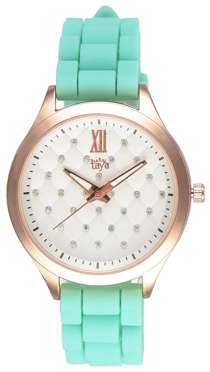 Часы наручные женские Taya, цвет: золотистый, светло-зеленый. T-W-0204T-W-0204-WATCH-GL.L.GREENСтильные женские часы Taya выполнены из минерального стекла, силикона и нержавеющей стали. Циферблат инкрустирован стразами и оформлен символикой бренда. Корпус часов оснащен кварцевым механизмом со сменным элементом питания, а также силиконовым ремешком с практичной пряжкой. На стрелки нанесен светящийся состав. Часы поставляются в фирменной упаковке. Часы Taya подчеркнут изящность женской руки и отменное чувство стиля у их обладательницы.