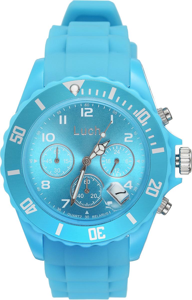 Часы наручные мужские Луч, цвет: голубой. 728885021728885021Стильные женские часы Луч выполнены из пластика и силикона. Циферблат оформлен символикой бренда и дополнен индикатором даты, секундомером и индикатором суточного времени. Корпус часов оснащен кварцевым механизмом со сменным элементом питания, а также дополнен браслетом, который застегивается на практичную пряжку. На стрелки нанесен светящийся состав. Часы поставляются в фирменной упаковке. Часы Луч подчеркнут отменное чувство стиля их обладателя.