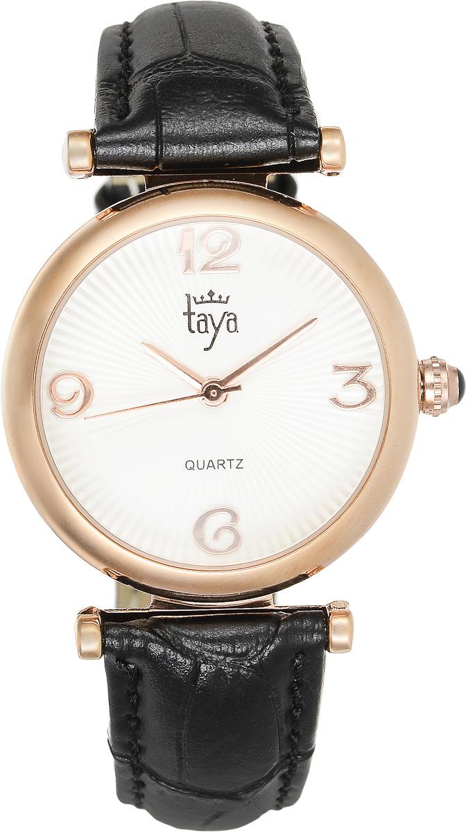 Часы наручные женские Taya, цвет: золотистый, черный. T-W-0016T-W-0016-WATCH-GL.BLACKЭлегантные женские часы Taya выполнены из минерального стекла, натуральной кожи и нержавеющей стали. Циферблат часов украшен символикой бренда. Корпус часов оснащен кварцевым механизмом со сменным элементом питания, а также дополнен ремешком из натуральной кожи, который застегивается на пряжку. Кожаный ремешок декорирован тиснением под кожу рептилии. Часы поставляются в фирменной упаковке. Часы Taya подчеркнут изящность женской руки и отменное чувство стиля у их обладательницы.