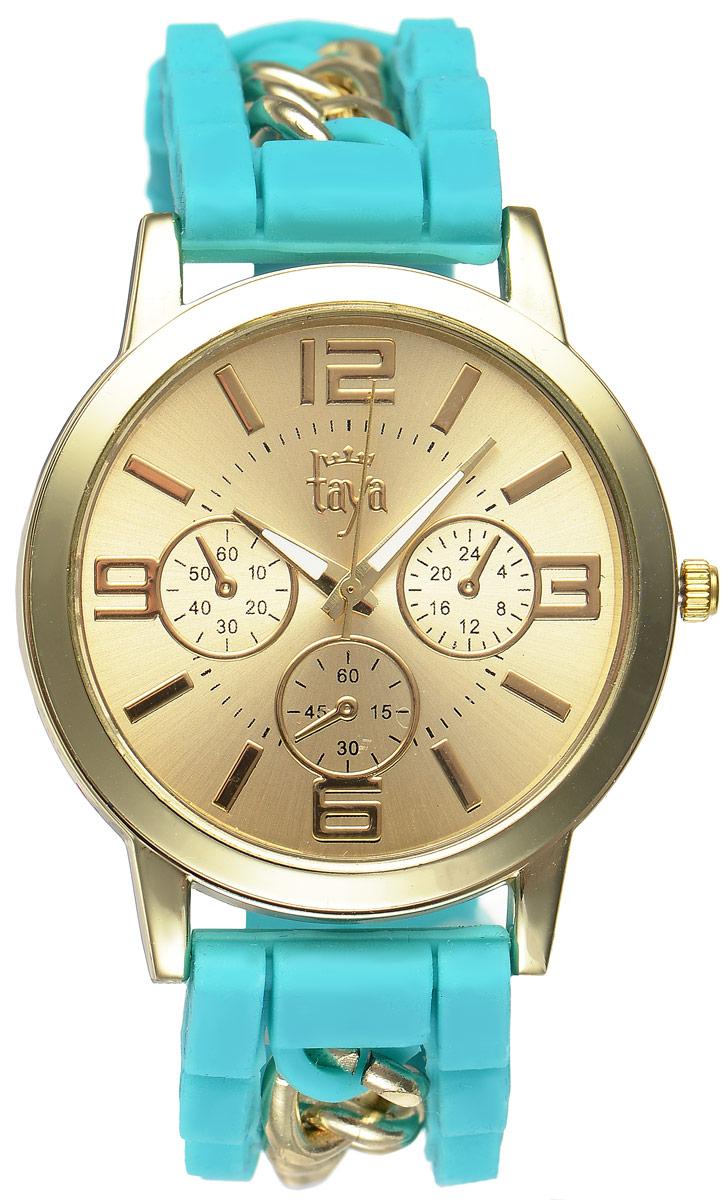 Часы наручные женские Taya, цвет: золотистый, бирюзовый. T-W-0223T-W-0223-WATCH-GL.TURQСтильные женские часы Taya выполнены из минерального стекла, силикона и нержавеющей стали. Циферблат часов оформлен символикой бренда и тремя декоративными отметками. Корпус оснащен кварцевым механизмом со сменным элементом питания. На стрелки нанесен светящийся состав. Браслет выполнен из силикона, застегивается на практичную пряжку и декорирован цепочками. Изделие поставляется в фирменной упаковке. Часы Taya подчеркнут изящность женской руки и отменное чувство стиля у их обладательницы.