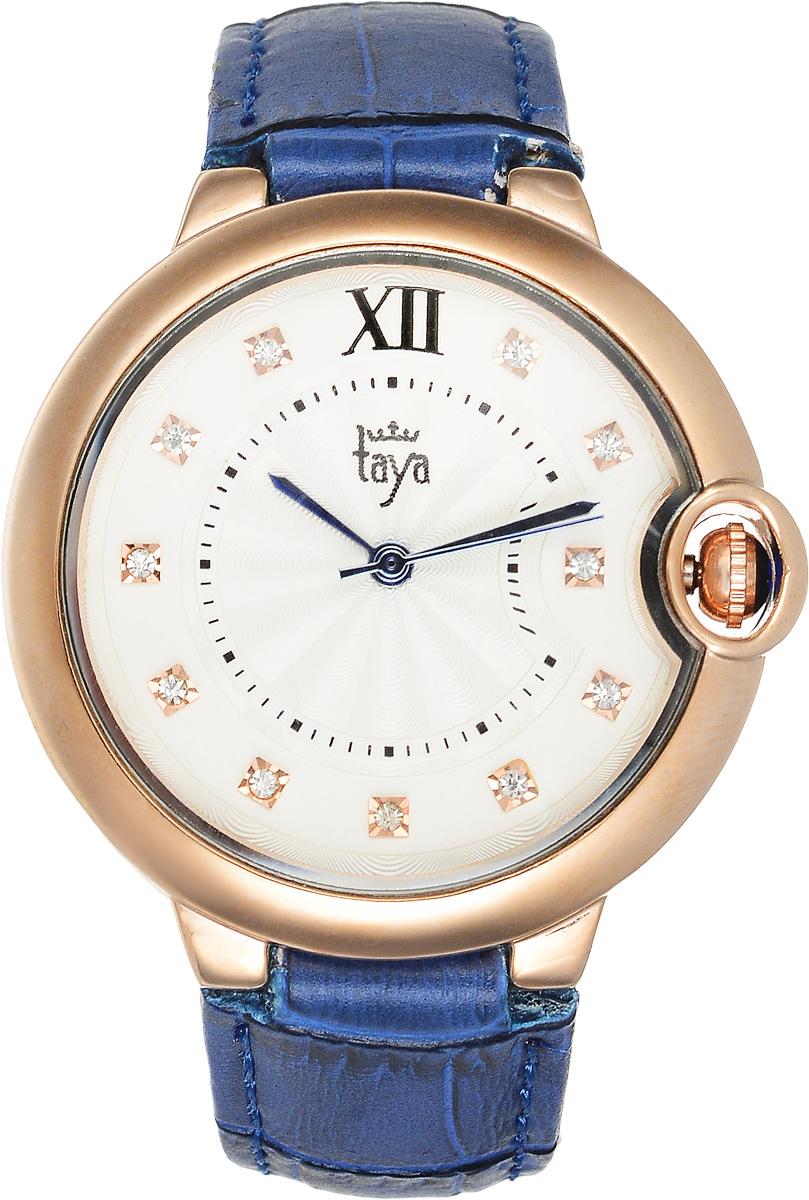 Часы наручные женские Taya, цвет: золотистый, синий. T-W-0002T-W-0002-WATCH-GL.D.BLUEЭлегантные женские часы Taya выполнены из минерального стекла, натуральной кожи и нержавеющей стали. Циферблат инкрустирован стразами и дополнен символикой бренда. Корпус часов оснащен кварцевым механизмом со сменным элементом питания, а также дополнен ремешком из натуральной кожи, который застегивается на пряжку. Ремешок декорирован тиснением под кожу рептилии. Часы поставляются в фирменной упаковке. Часы Taya подчеркнут изящность женской руки и отменное чувство стиля у их обладательницы.