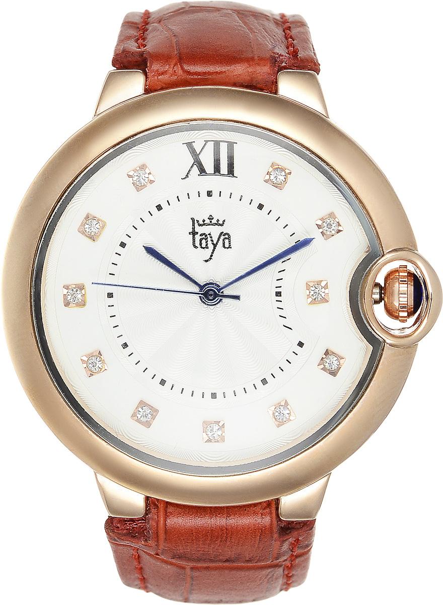 Часы наручные женские Taya, цвет: золотистый, терракотовый. T-W-0005T-W-0005-WATCH-GL.REDЭлегантные женские часы Taya выполнены из минерального стекла, натуральной кожи и нержавеющей стали. Циферблат инкрустирован стразами и дополнен символикой бренда. Корпус часов оснащен кварцевым механизмом со сменным элементом питания, а также дополнен ремешком из натуральной кожи, который застегивается на пряжку. Ремешок декорирован тиснением под кожу рептилии. Часы поставляются в фирменной упаковке. Часы Taya подчеркнут изящность женской руки и отменное чувство стиля у их обладательницы.
