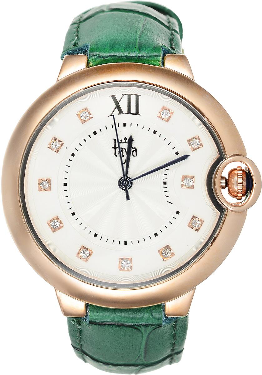 Часы наручные женские Taya, цвет: золотистый, зеленый. T-W-0006T-W-0006-WATCH-GL.GREENЭлегантные женские часы Taya выполнены из минерального стекла, натуральной кожи и нержавеющей стали. Циферблат инкрустирован стразами и дополнен символикой бренда. Корпус часов оснащен кварцевым механизмом со сменным элементом питания, а также дополнен ремешком из натуральной кожи, который застегивается на пряжку. Ремешок декорирован тиснением под кожу рептилии. Часы поставляются в фирменной упаковке. Часы Taya подчеркнут изящность женской руки и отменное чувство стиля у их обладательницы.