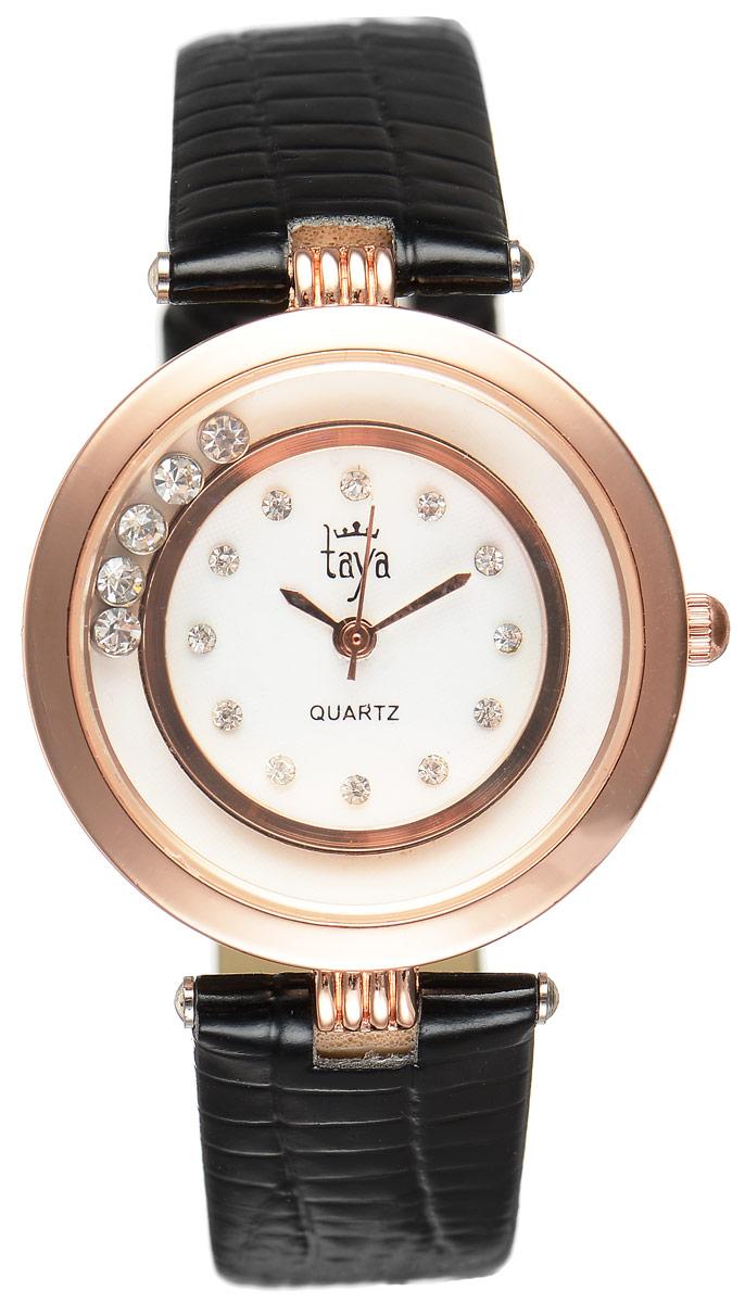 Часы наручные женские Taya, цвет: золотистый, черный. T-W-0024T-W-0024-WATCH-GL.BLACKЭлегантные женские часы Taya выполнены из минерального стекла, искусственной кожи и нержавеющей стали. Циферблат инкрустирован стразами и дополнен символикой бренда. Корпус часов оформлен пятью стразами, перемещающимися по окружности. Корпус часов оснащен кварцевым механизмом со сменным элементом питания, а также дополнен ремешком из искусственной кожи, который застегивается на пряжку. Ремешок декорирован тиснением под кожу рептилии. Часы поставляются в фирменной упаковке. Часы Taya подчеркнут изящность женской руки и отменное чувство стиля у их обладательницы.