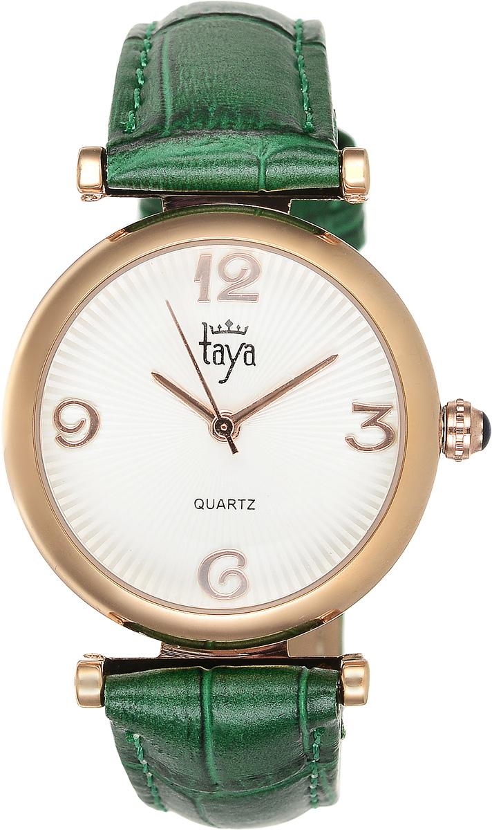 Часы наручные женские Taya, цвет: золотистый, зеленый. T-W-0013T-W-0013-WATCH-GL.GREENЭлегантные женские часы Taya выполнены из минерального стекла, натуральной кожи и нержавеющей стали. Циферблат часов украшен символикой бренда. Корпус часов оснащен кварцевым механизмом со сменным элементом питания, а также дополнен ремешком из натуральной кожи, который застегивается на пряжку. Кожаный ремешок декорирован тиснением под кожу рептилии. Часы поставляются в фирменной упаковке. Часы Taya подчеркнут изящность женской руки и отменное чувство стиля у их обладательницы.