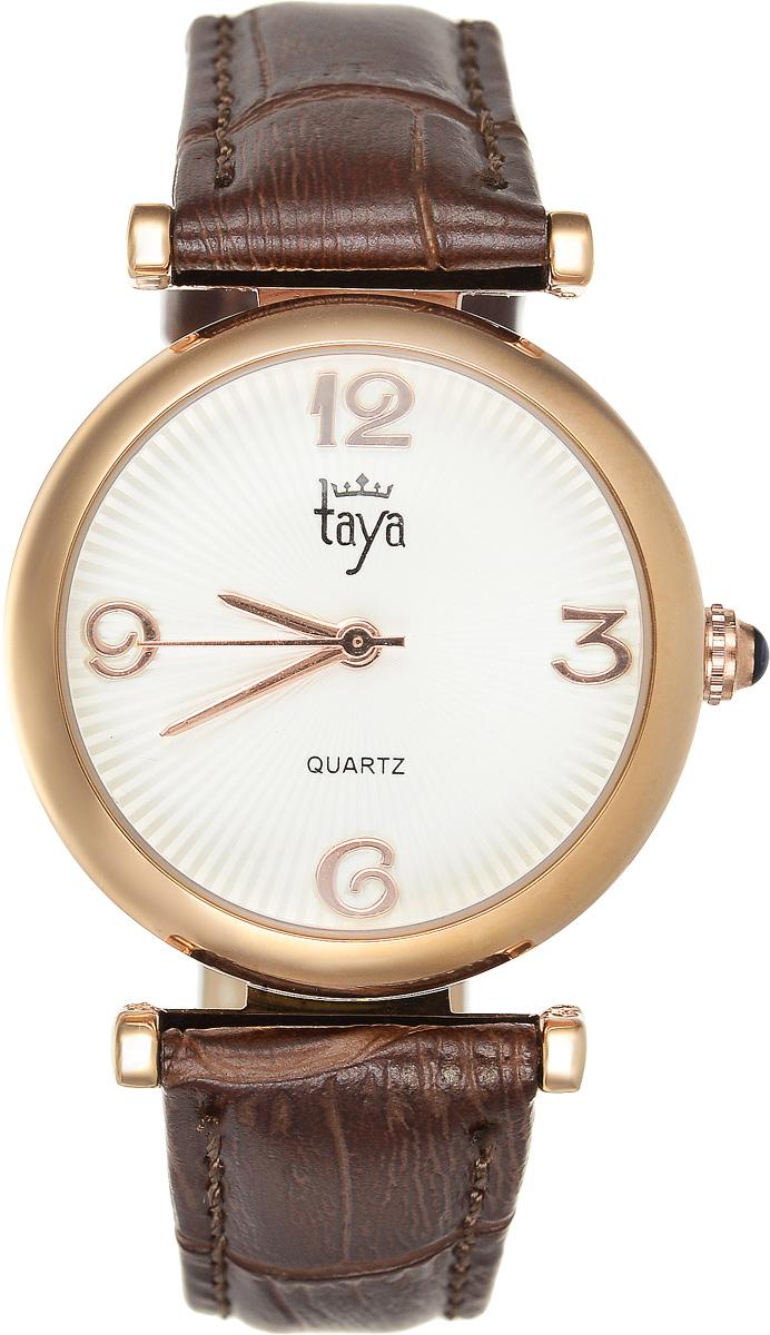 Часы наручные женские Taya, цвет: золотистый, коричневый. T-W-0015T-W-0015-WATCH-GL.BROWNЭлегантные женские часы Taya выполнены из минерального стекла, натуральной кожи и нержавеющей стали. Циферблат часов украшен символикой бренда. Корпус часов оснащен кварцевым механизмом со сменным элементом питания, а также дополнен ремешком из натуральной кожи, который застегивается на пряжку. Кожаный ремешок декорирован тиснением под кожу рептилии. Часы поставляются в фирменной упаковке. Часы Taya подчеркнут изящность женской руки и отменное чувство стиля у их обладательницы.
