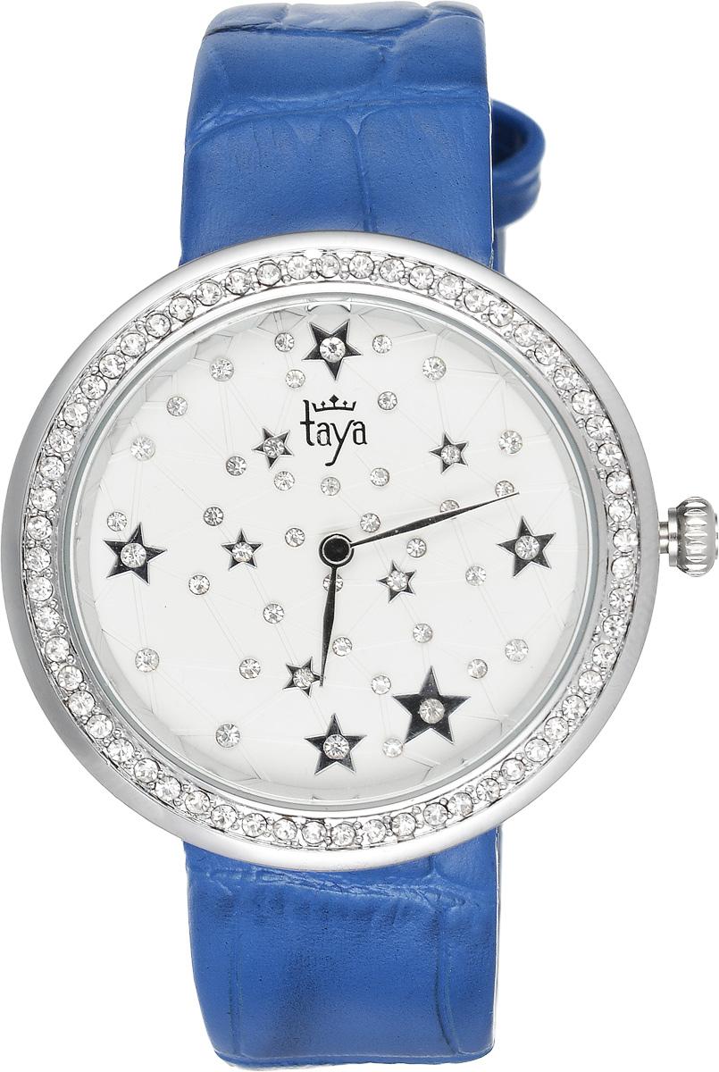 Часы наручные женские Taya, цвет: серебристый, синий. T-W-0011T-W-0011-WATCH-SL.D.BLUEЭлегантные женские часы Taya выполнены из минерального стекла, натуральной кожи и нержавеющей стали. Циферблат и корпус часов украшены стразами и символикой бренда. Корпус часов оснащен кварцевым механизмом со сменным элементом питания, а также дополнен ремешком из натуральной кожи, который застегивается на пряжку. Ремешок декорирован тиснением под кожу рептилии. Часы поставляются в фирменной упаковке. Часы Taya подчеркнут изящность женской руки и отменное чувство стиля у их обладательницы.