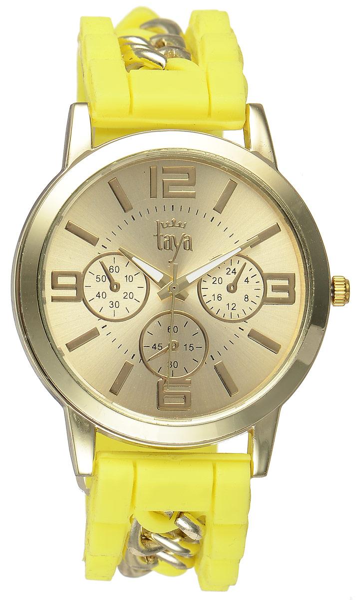 Часы наручные женские Taya, цвет: золотистый, желтый. T-W-0221T-W-0221-WATCH-GL.YELLOWСтильные женские часы Taya выполнены из минерального стекла, силикона и нержавеющей стали. Циферблат часов оформлен символикой бренда и тремя декоративными отметками. Корпус оснащен кварцевым механизмом со сменным элементом питания. На стрелки нанесен светящийся состав. Браслет выполнен из силикона, застегивается на практичную пряжку и декорирован цепочками. Изделие поставляется в фирменной упаковке. Часы Taya подчеркнут изящность женской руки и отменное чувство стиля у их обладательницы.