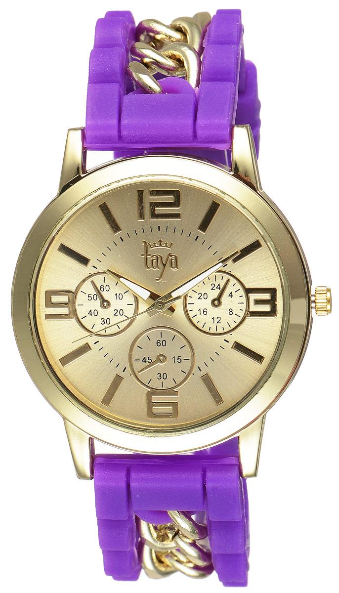 Часы наручные женские Taya, цвет: золотистый, пурпурный. T-W-0220T-W-0220-WATCH-GL.PURPLEСтильные женские часы Taya выполнены из минерального стекла, силикона и нержавеющей стали. Циферблат часов оформлен символикой бренда и тремя декоративными отметками. Корпус оснащен кварцевым механизмом со сменным элементом питания. На стрелки нанесен светящийся состав. Браслет, выполненный из силикона и декорированный цепочками, застегивается на практичную пряжку. Изделие поставляется в фирменной упаковке. Часы Taya подчеркнут изящность женской руки и отменное чувство стиля у их обладательницы.