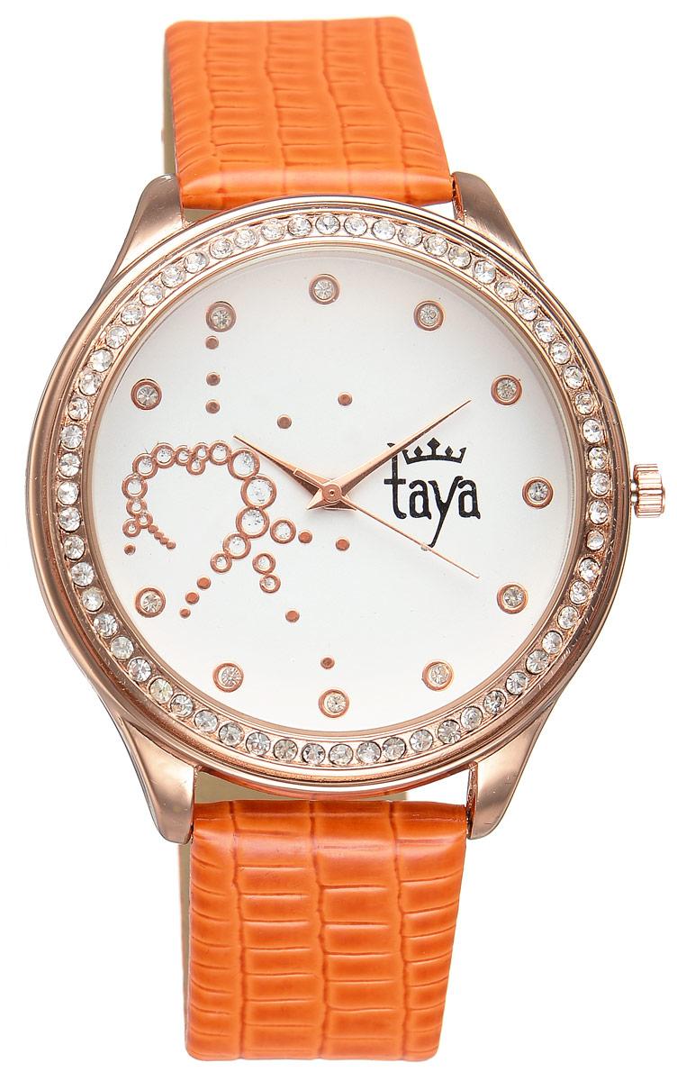 Часы наручные женские Taya, цвет: золотистый, оранжевый. T-W-0029T-W-0029-WATCH-GL.ORANGEЭлегантные женские часы Taya выполнены из минерального стекла, искусственной кожи и нержавеющей стали. Циферблат инкрустирован стразами внутри и по внешней стороне окружности. Корпус часов оснащен кварцевым механизмом со сменным элементом питания, а также дополнен ремешком из искусственной кожи, который застегивается на пряжку. Ремешок декорирован тиснением под кожу рептилии. Часы поставляются в фирменной упаковке. Часы Taya подчеркнут изящность женской руки и отменное чувство стиля у их обладательницы.