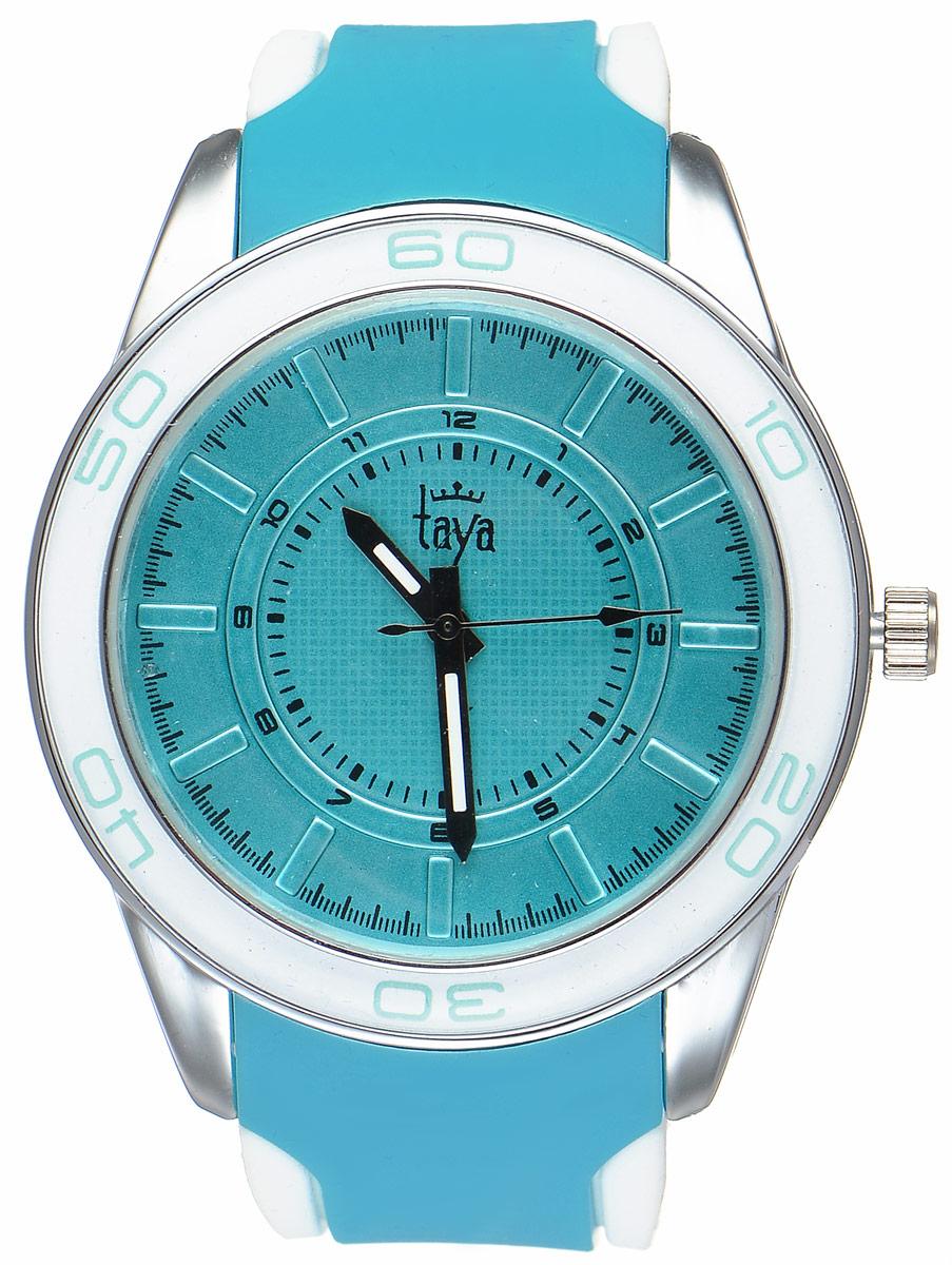 Часы наручные женские Taya, цвет: серебристый, бирюзовый. T-W-0206T-W-0206-WATCH-SL.TURQСтильные женские часы Taya выполнены из минерального стекла, силикона и нержавеющей стали. Циферблат оформлен символикой бренда. Корпус часов оснащен кварцевым механизмом со сменным элементом питания, а также силиконовым ремешком с практичной пряжкой. На стрелки нанесен светящийся состав. Часы поставляются в фирменной упаковке. Часы Taya подчеркнут изящность женской руки и отменное чувство стиля у их обладательницы.