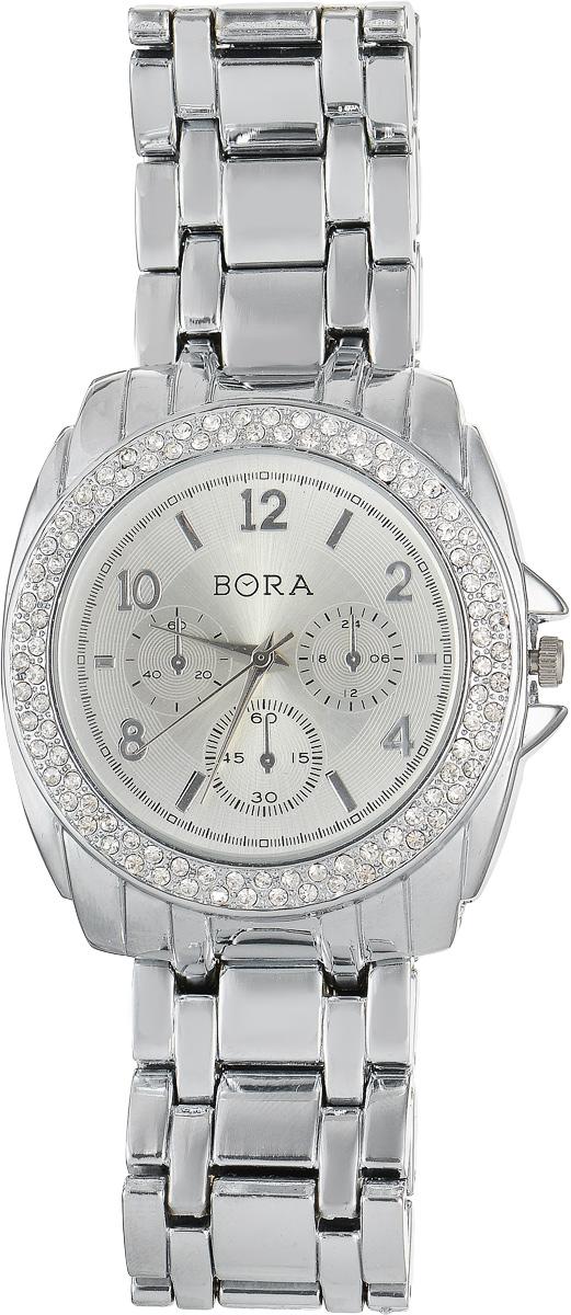 Часы наручные женские Bora, цвет: серебристый. T-B-7631T-B-7631-WATCH-SILVERСтильные женские часы Bora выполнены из нержавеющей стали, металлического сплава и минерального стекла. Циферблат дополнен декоративными отметками, а корпус инкрустирован стразами. Корпус часов оснащен кварцевым механизмом со сменным элементом питания, а также дополнен браслетом, который застегивается на складную застежку. Часы поставляются в фирменной упаковке. Часы Bora подчеркнут изящность женской руки и отменное чувство стиля у их обладательницы.