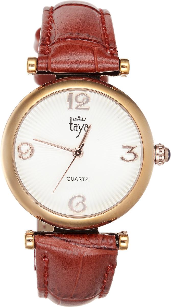 Часы наручные женские Taya, цвет: золотистый, терракотовый. T-W-0014T-W-0014-WATCH-GL.REDЭлегантные женские часы Taya выполнены из минерального стекла, натуральной кожи и нержавеющей стали. Циферблат часов украшен символикой бренда. Корпус часов оснащен кварцевым механизмом со сменным элементом питания, а также дополнен ремешком из натуральной кожи, который застегивается на пряжку. Кожаный ремешок декорирован тиснением под кожу рептилии. Часы поставляются в фирменной упаковке. Часы Taya подчеркнут изящность женской руки и отменное чувство стиля у их обладательницы.