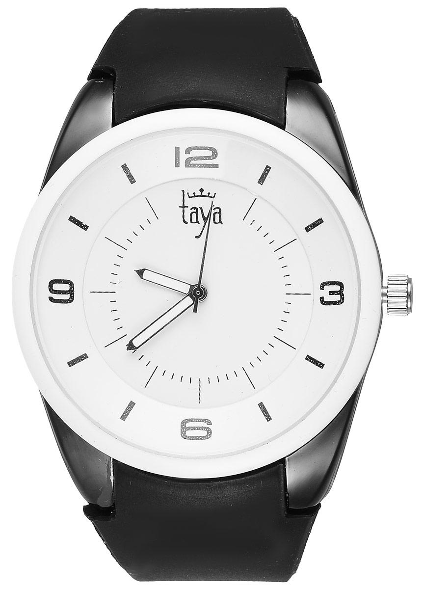 Часы наручные женские Taya, цвет: белый, черный. T-W-0248T-W-0248-WATCH-WH.BLACKСтильные женские часы Taya выполнены из минерального стекла, силикона и нержавеющей стали. Циферблат часов украшен символикой бренда. Корпус часов оснащен кварцевым механизмом со сменным элементом питания, а также дополнен силиконовым ремешком, который застегивается на пряжку. На стрелки нанесен светящийся состав. Часы поставляются в фирменной упаковке. Часы Taya подчеркнут изящность женской руки и отменное чувство стиля у их обладательницы.