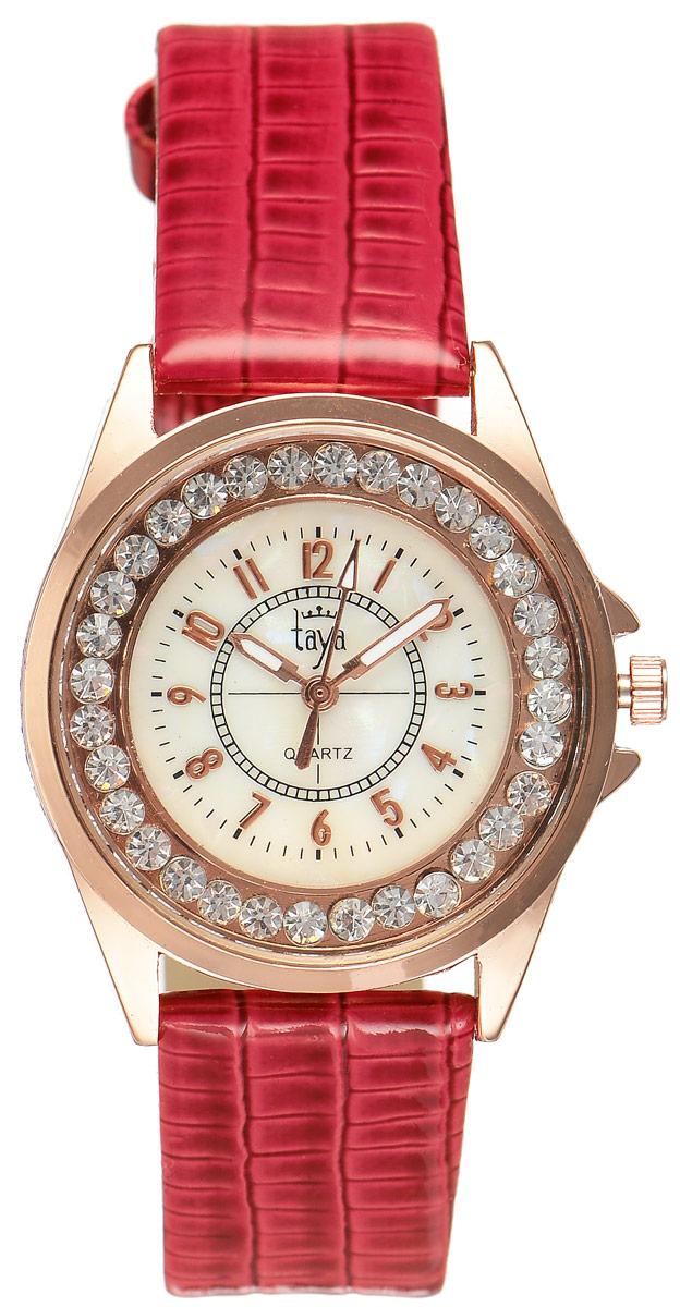 Часы наручные женские Taya, цвет: золотистый, красный. T-W-0033T-W-0033-WATCH-GL.REDЭлегантные женские часы Taya выполнены из минерального стекла, искусственной кожи и нержавеющей стали. Корпус часов украшен стразами, циферблат оформлен перламутром и символикой бренда. Корпус часов оснащен кварцевым механизмом со сменным элементом питания, а также дополнен ремешком из искусственной кожи, который застегивается на пряжку. Ремешок декорирован тиснением под кожу рептилии. Часы поставляются в фирменной упаковке. Часы Taya подчеркнут изящность женской руки и отменное чувство стиля у их обладательницы.