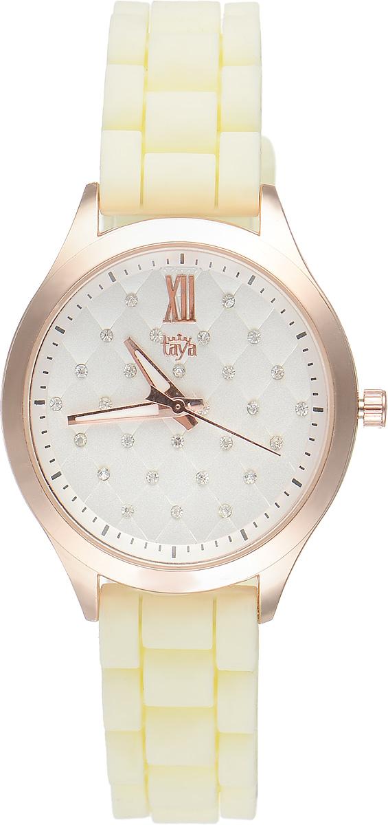 Часы наручные женские Taya, цвет: золотистый, кремовый. T-W-0202T-W-0202-WATCH-GL.CREAMСтильные женские часы Taya выполнены из минерального стекла, силикона и нержавеющей стали. Циферблат инкрустирован стразами и оформлен символикой бренда. Корпус часов оснащен кварцевым механизмом со сменным элементом питания, а также силиконовым ремешком с практичной пряжкой. На стрелки нанесен светящийся состав. Часы поставляются в фирменной упаковке. Часы Taya подчеркнут изящность женской руки и отменное чувство стиля у их обладательницы.