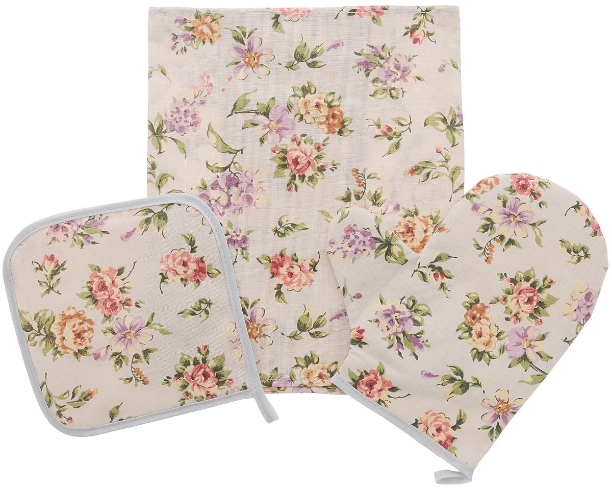 Набор кухонный Roko Вальс цветов, 3 предмета545217Кухонный набор Roko Вальс цветов, выполненный из 50% хлопка и 50% льна, состоит из прихватки, прямоугольного полотенца и прихватки-рукавицы. Предметы набора оформлены красочным принтом. Полотенце прекрасно впитывает влагу, легко стирается, хорошо сохраняет форму и цвет. Прихватки удобные, мягкие и практичные. Они защитят ваши руки и предотвратят появление ожогов. С помощью текстильной петельки прихватки можно подвесить на крючок. Такой комплект прекрасно сочетается с фартуком, скатертью и силиконовой рукавицей в аналогичном дизайне, что делает его стильным и полезным подарком для каждой хозяйки. Кухонный набор Roko Вальс цветов станет незаменимым помощником на вашей кухне. Яркий и оригинальный дизайн вдохновит вас на новые кулинарные шедевры. Размер полотенца: 60 х 30 см. Размер прихватки: 17 х 17 см. Размер варежки-прихватки: 23 х 21 см.