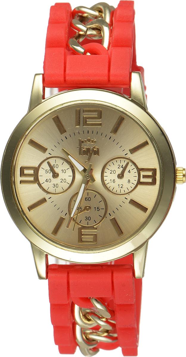 Часы наручные женские Taya, цвет: золотистый, красный. T-W-0215T-W-0215-WATCH-GL.REDСтильные женские часы Taya выполнены из минерального стекла, силикона и нержавеющей стали. Циферблат часов оформлен символикой бренда и тремя декоративными отметками. Корпус оснащен кварцевым механизмом со сменным элементом питания. На стрелки нанесен светящийся состав. Браслет выполнен из силикона, застегивается на практичную пряжку и декорирован цепочками. Изделие поставляется в фирменной упаковке. Часы Taya подчеркнут изящность женской руки и отменное чувство стиля у их обладательницы.