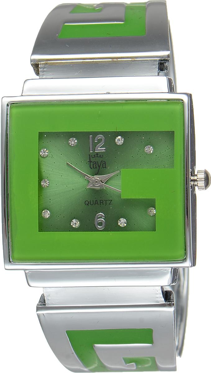 Часы наручные женские Taya, цвет: серебристый, зеленый. T-W-0401T-W-0401-WATCH-SL.GREENСтильные женские часы Taya выполнены из минерального стекла и нержавеющей стали. Циферблат часов инкрустирован стразами и украшен символикой бренда. Корпус часов оснащен кварцевым механизмом со сменным элементом питания, а также дополнен раздвижным браслетом с пружинным механизмом, который позволяет надеть часы на любую руку. Браслет оформлен цветной эмалью. Часы поставляются в фирменной упаковке. Часы Taya подчеркнут изящность женской руки и отменное чувство стиля у их обладательницы.