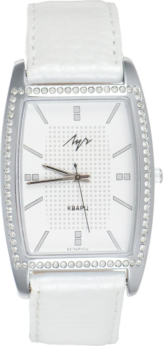 Часы наручные женские Луч, цвет: серебряный, белый. 7440188874401888Элегантные женские часы Луч выполнены из металлического сплава. Корпус с покрытием из хрома обладает особой стойкостью к стиранию, инкрустирован стразами. Циферблат оформлен символикой бренда. Корпус часов оснащен кварцевым механизмом со сменным элементом питания, а также дополнен ремешком из натуральной кожи с декоративным тиснением, который застегивается на практичную пряжку. Часы поставляются в фирменной упаковке. Часы Луч подчеркнут изящность женской руки и отменное чувство стиля у их обладательницы.