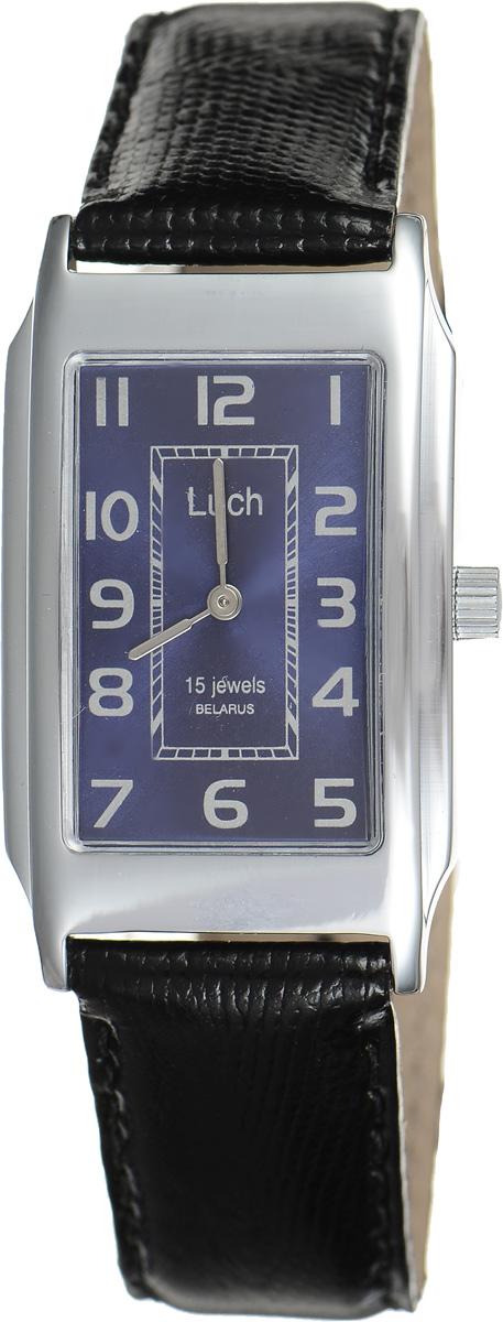 Часы наручные женские Луч, цвет: серебряный, черный. 7557118075571180Стильные часы Луч выполнены из металлического сплава и органического стекла. Корпус имеет покрытие из хрома, которое обладает особой стойкостью к стиранию. Прямоугольный циферблат оформлен символикой бренда. Механические часы с 15 рубиновыми камнями и противоударным устройством оси баланса дополнены ремешком из натуральной кожи с лаковым покрытием и декоративным тиснением, который застегивается на практичную пряжку. Часы поставляются в фирменной упаковке. Часы Луч подчеркнут изящность женской руки и отменное чувство стиля у их обладательницы.