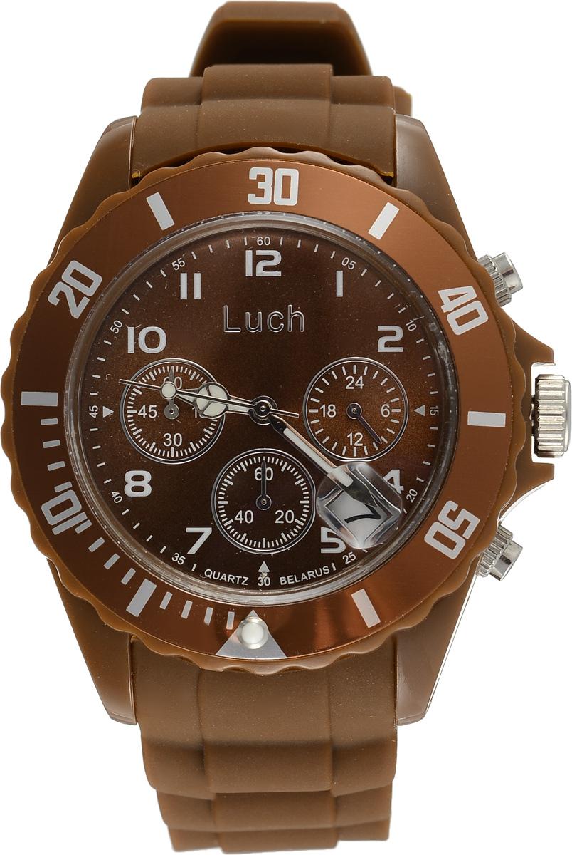 Часы наручные мужские Луч, цвет: коричневый. 728885024728885024Стильные часы Луч выполнены из пластика и силикона. Циферблат оформлен символикой бренда и дополнен индикатором даты, секундомером и индикатором суточного времени. Корпус часов оснащен кварцевым механизмом со сменным элементом питания, а также дополнен браслетом, который застегивается на практичную пряжку. На стрелки нанесен светящийся состав. Часы поставляются в фирменной упаковке. Часы Луч подчеркнут отменное чувство стиля их обладателя.