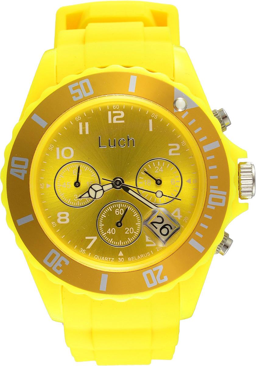 Часы наручные женские Луч, цвет: желтый. 728885012728885012Стильные женские часы Луч выполнены из пластика и силикона. Циферблат оформлен символикой бренда и дополнен индикатором даты, секундомером и индикатором суточного времени. Корпус часов оснащен кварцевым механизмом со сменным элементом питания, а также дополнен браслетом, который застегивается на практичную пряжку. На стрелки нанесен светящийся состав. Часы поставляются в фирменной упаковке. Часы Луч подчеркнут отменное чувство стиля их обладателя.
