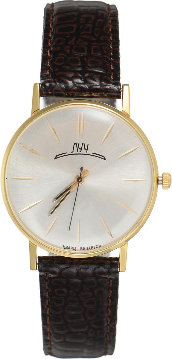 Часы наручные мужские Луч, цвет: золотой, темно-коричневый. 3161873331618733Стильные мужские часы Луч выполнены из металлического сплава и силикатного стекла. Корпус дополнен покрытием из комбинированного твердого золота, циферблат оформлен символикой бренда. Корпус часов оснащен кварцевым механизмом со сменным элементом питания, а также дополнен ремешком из натуральной кожи с лаковым покрытием и декоративным тиснением, который застегивается на практичную пряжку. Часы поставляются в фирменной упаковке. Часы Луч подчеркнут отменное чувство стиля их обладателя.