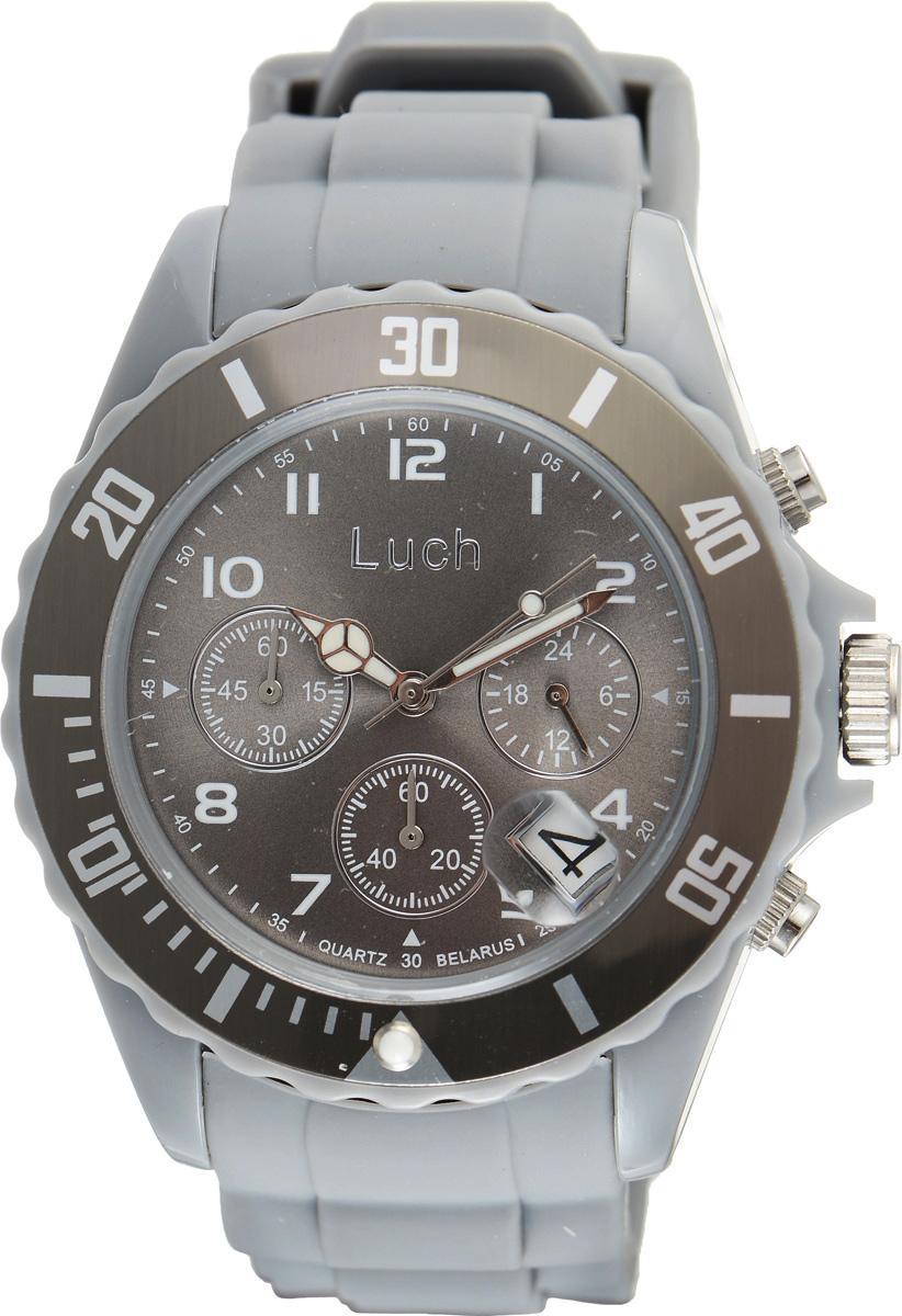 Часы наручные мужские Луч, цвет: серый. 728885023728885023Стильные часы Луч выполнены из пластика и силикона. Циферблат оформлен символикой бренда и дополнен индикатором даты, секундомером и индикатором суточного времени. Корпус часов оснащен кварцевым механизмом со сменным элементом питания, а также дополнен браслетом, который застегивается на практичную пряжку. На стрелки нанесен светящийся состав. Часы поставляются в фирменной упаковке. Часы Луч подчеркнут отменное чувство стиля их обладателя.