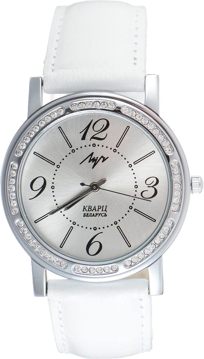 Часы наручные женские Луч, цвет: белый, серебряный. 7374197673741976Элегантные женские часы Луч выполнены из металлического сплава. Корпус дополнен покрытием из хрома и инкрустирован стразами. Циферблат оформлен символикой бренда. Корпус часов оснащен кварцевым механизмом со сменным элементом питания, а также дополнен ремешком из натуральной кожи, который застегивается на практичную пряжку. Часы поставляются в фирменной упаковке. Часы Луч подчеркнут отменное чувство стиля их обладателя.