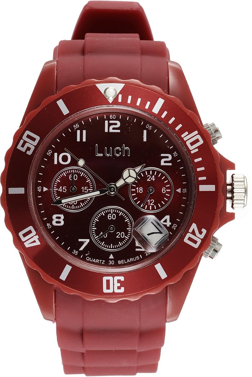 Часы наручные женские Луч, цвет: бордовый. 728885013728885013Стильные женские часы Луч выполнены из пластика и силикона. Циферблат оформлен символикой бренда и дополнен индикатором даты, секундомером и индикатором суточного времени. Корпус часов оснащен кварцевым механизмом со сменным элементом питания, а также дополнен браслетом, который застегивается на практичную пряжку. На стрелки нанесен светящийся состав. Часы поставляются в фирменной упаковке. Часы Луч подчеркнут отменное чувство стиля их обладателя.