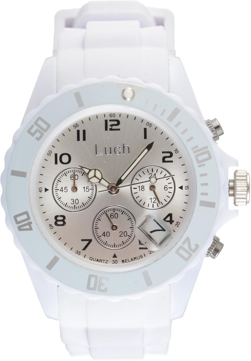 Часы наручные женские Луч, цвет: белый. 728885014728885014Стильные часы Луч выполнены из пластика и силикона. Циферблат оформлен символикой бренда и дополнен индикатором даты, секундомером и индикатором суточного времени. Корпус часов оснащен кварцевым механизмом со сменным элементом питания, а также дополнен браслетом, который застегивается на практичную пряжку. На стрелки нанесен светящийся состав. Часы поставляются в фирменной упаковке. Часы Луч подчеркнут отменное чувство стиля их обладателя.