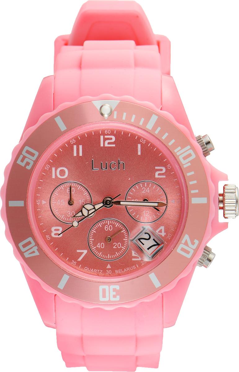 Часы наручные женские Луч, цвет: светло-розовый. 728885018728885018Стильные женские часы Луч выполнены из пластика и силикона. Циферблат оформлен символикой бренда и дополнен индикатором даты, секундомером и индикатором суточного времени. Корпус часов оснащен кварцевым механизмом со сменным элементом питания, а также дополнен браслетом, который застегивается на практичную пряжку. На стрелки нанесен светящийся состав. Часы поставляются в фирменной упаковке. Часы Луч подчеркнут отменное чувство стиля их обладателя.