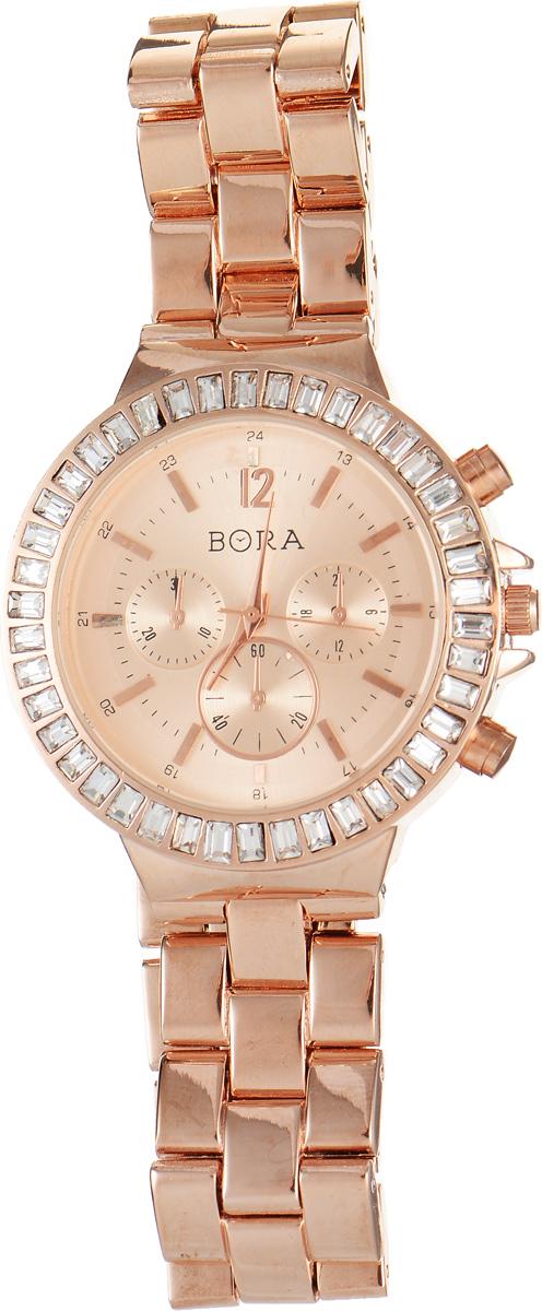 Часы наручные женские Bora, цвет: красное золото. T-B-7628T-B-7628-WATCH-R.GOLDСтильные женские часы Bora выполнены из нержавеющей стали, металлического сплава и минерального стекла. Циферблат дополнен декоративными отметками, а корпус инкрустирован стразами. Наручные часы с центральной секундной стрелкой, часовой механизм Seiko Instruments (SII), с питанием от сменного кварцевого элемента питания типа R626SW. Корпус часов дополнен браслетом, который застегивается на складную застежку. Часы поставляются в фирменной упаковке. Часы Bora подчеркнут изящность женской руки и отменное чувство стиля у их обладательницы.
