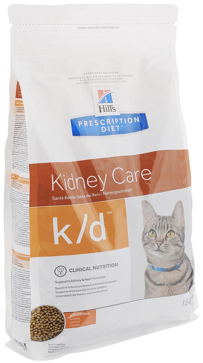 Корм сухой диетический Hills K/D для кошек, для лечения заболеваний почек, с курицей, 1,5 кг9186Сухой корм Hills K/D - полноценный диетический корм для кошек разработан для поддержания функции почек при хронической или временной почечной недостаточности. Содержит пониженный уровень фосфора и оптимальный уровень протеинов высокой биологической ценности. Prescription Diet - серия лечебных кормов, разработанная ведущими специалистами в области диетологии, ветеринарии и физиологии. Товар сертифицирован.