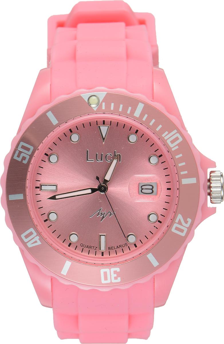 Часы наручные женские Луч, цвет: светло-розовый. 728785938728785938Стильные женские часы Луч выполнены из пластика и силикона. Циферблат оформлен символикой бренда и дополнен индикатором даты. Корпус часов оснащен кварцевым механизмом со сменным элементом питания, а также дополнен браслетом, который застегивается на практичную пряжку. На стрелки и циферблат нанесен светящийся состав. Часы поставляются в фирменной упаковке. Часы Луч подчеркнут изящность женской руки и отменное чувство стиля у их обладательницы.