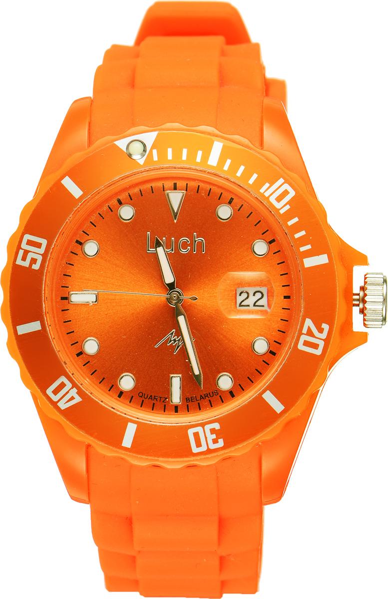Часы наручные женские Луч, цвет: оранжевый. 728785935728785935Стильные женские часы Луч выполнены из пластика и силикона. Циферблат оформлен символикой бренда и дополнен индикатором даты. Корпус часов оснащен кварцевым механизмом со сменным элементом питания, а также дополнен браслетом, который застегивается на практичную пряжку. На стрелки и циферблат нанесен светящийся состав. Часы поставляются в фирменной упаковке. Часы Луч подчеркнут изящность женской руки и отменное чувство стиля у их обладательницы.