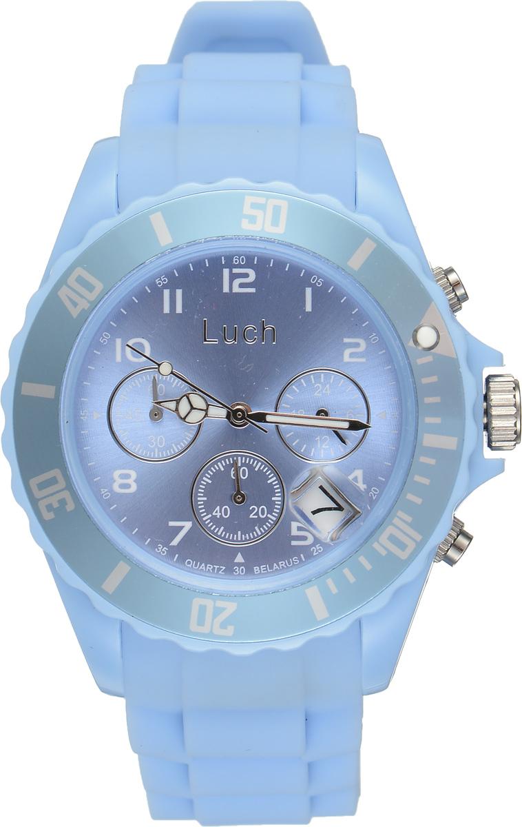 Часы наручные мужские Луч, цвет: голубой. 728885016728885016Стильные часы Луч выполнены из пластика и силикона. Циферблат оформлен символикой бренда и дополнен индикатором даты, секундомером и индикатором суточного времени. Корпус часов оснащен кварцевым механизмом со сменным элементом питания, а также дополнен браслетом, который застегивается на практичную пряжку. На стрелки нанесен светящийся состав. Часы поставляются в фирменной упаковке. Часы Луч подчеркнут отменное чувство стиля их обладателя.