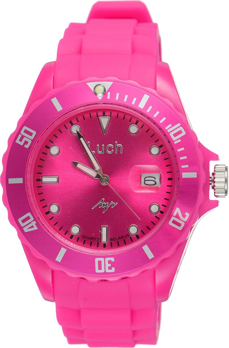 Часы наручные женские Луч, цвет: фуксия. 728785939728785939Стильные женские часы Луч выполнены из пластика и силикона. Циферблат оформлен символикой бренда и дополнен индикатором даты. Корпус часов оснащен кварцевым механизмом со сменным элементом питания, а также дополнен браслетом, который застегивается на практичную пряжку. На стрелки и циферблат нанесен светящийся состав. Часы поставляются в фирменной упаковке. Часы Луч подчеркнут изящность женской руки и отменное чувство стиля у их обладательницы.