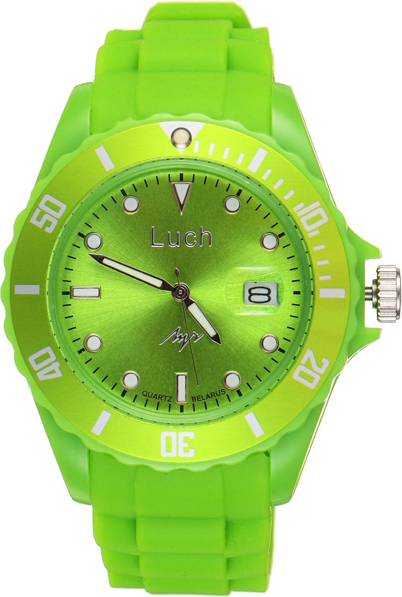 Часы наручные Луч, цвет: зеленый. 728785931728785931Стильные часы Луч выполнены из пластика и силикона. Циферблат оформлен символикой бренда и дополнен индикатором даты. Корпус часов оснащен кварцевым механизмом со сменным элементом питания, а также дополнен браслетом, который застегивается на практичную пряжку. На стрелки и циферблат нанесен светящийся состав. Часы поставляются в фирменной упаковке. Часы Луч подчеркнут отменное чувство стиля у их обладателя.
