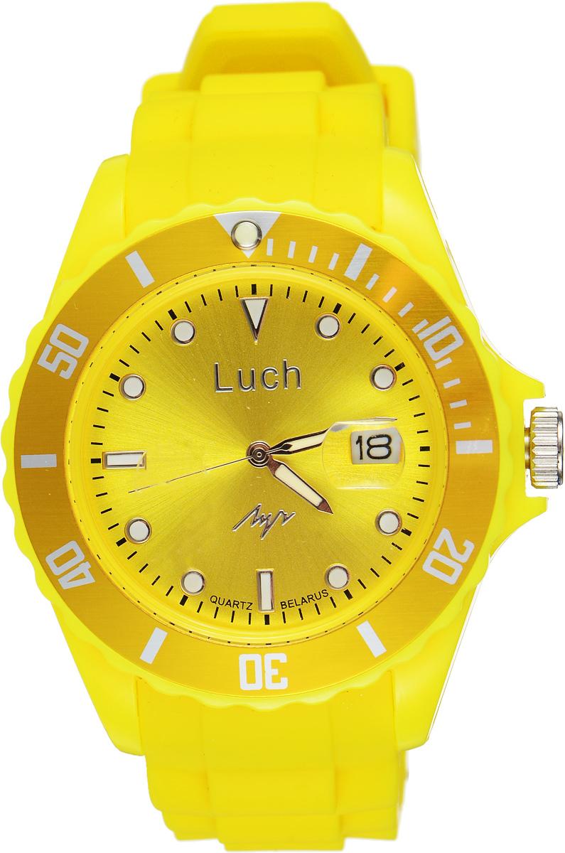 Часы наручные женские Луч, цвет: желтый. 728785932728785932Стильные женские часы Луч выполнены из пластика и силикона. Циферблат оформлен символикой бренда и дополнен индикатором даты. Корпус часов оснащен кварцевым механизмом со сменным элементом питания, а также дополнен браслетом, который застегивается на практичную пряжку. На стрелки и циферблат нанесен светящийся состав. Часы поставляются в фирменной упаковке. Часы Луч подчеркнут изящность женской руки и отменное чувство стиля у их обладательницы.